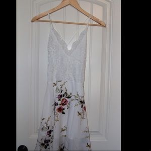 Cute White Lace Floral Dress with Open Back
